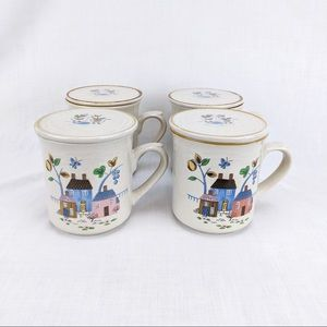 Vintage International Heartland Mug Set of 4 w Lid